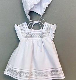 Luli Lace Inserts Flutter Sleeve Dress and Bonnet