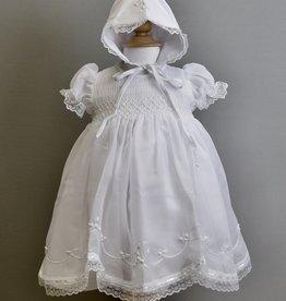 Willbeth White Smocked Chiffon Dress and Bonnet