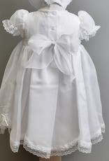Willbeth White Smocked Chiffon Dress and Bonnet