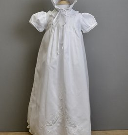 Feltman White Tucked Gown with Collar