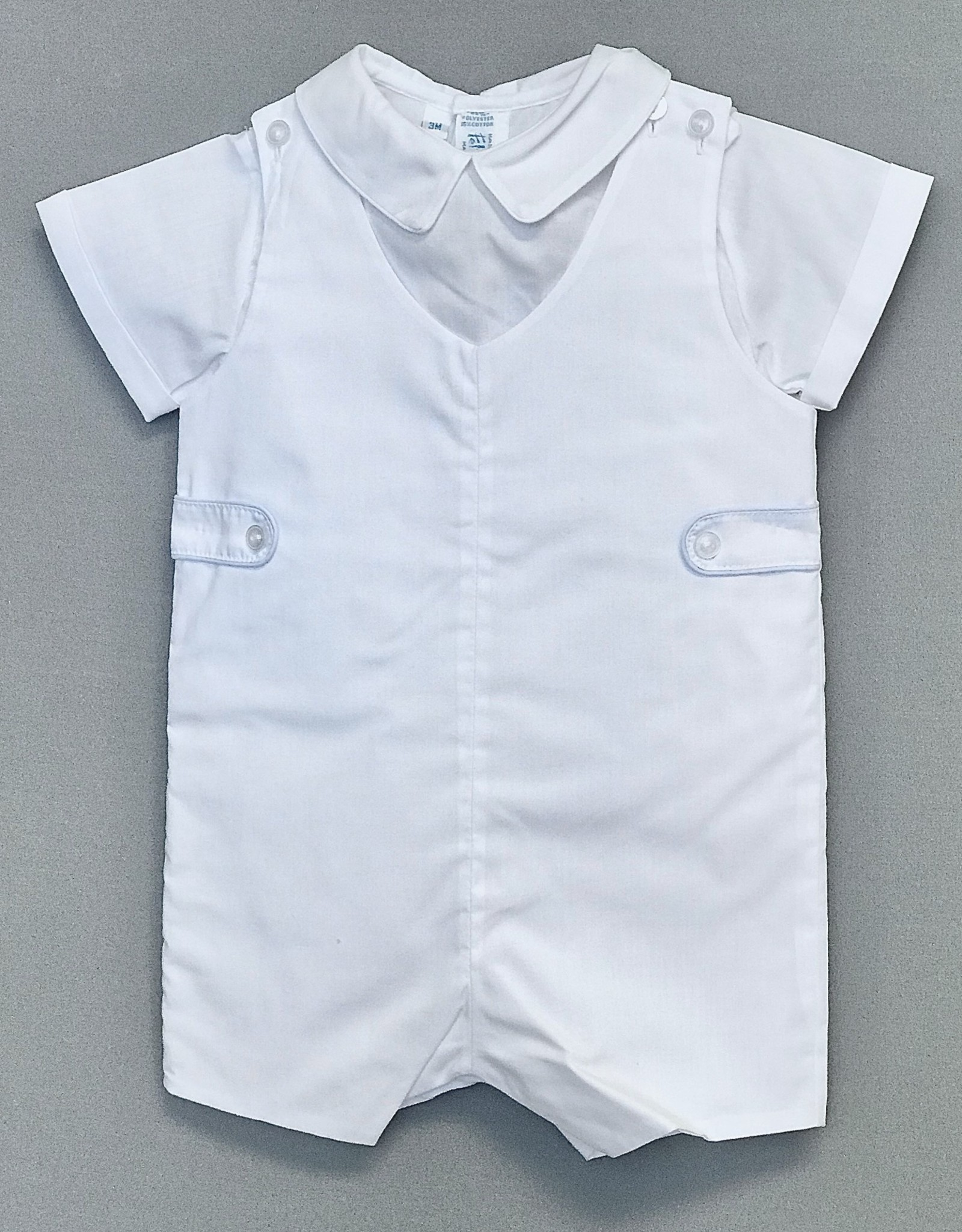 Feltman White piped Jon Jon 3m-24m Shirt not included