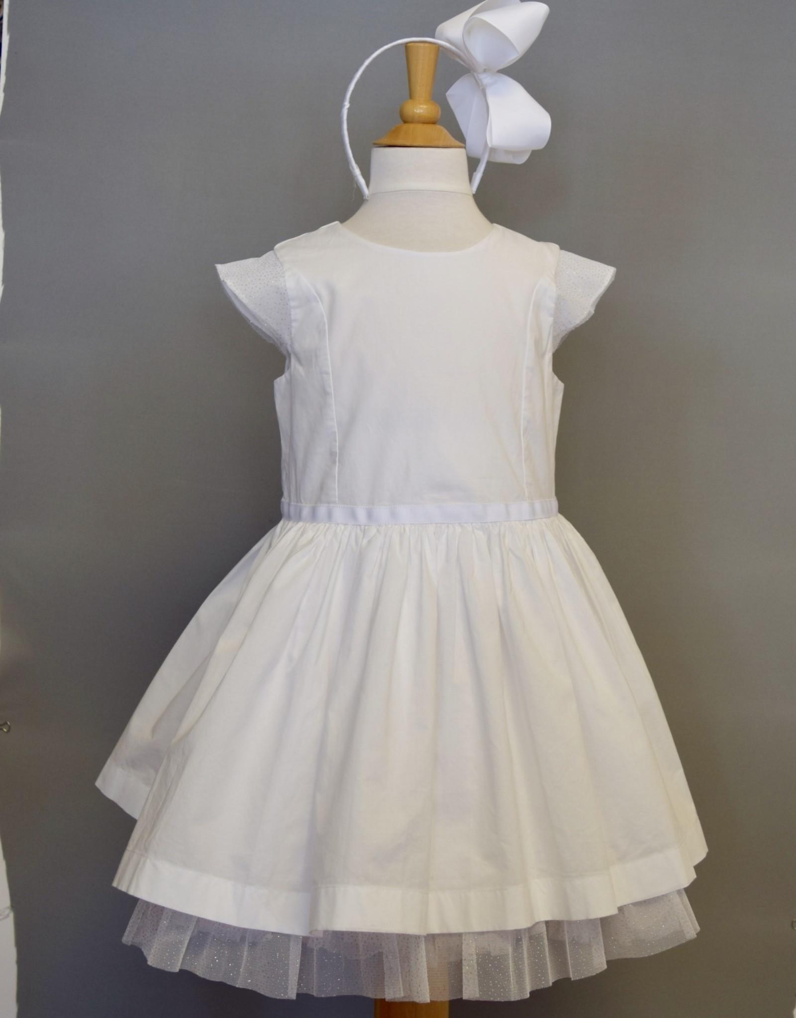 Petit Bateau White Cotton & Tulle Dress