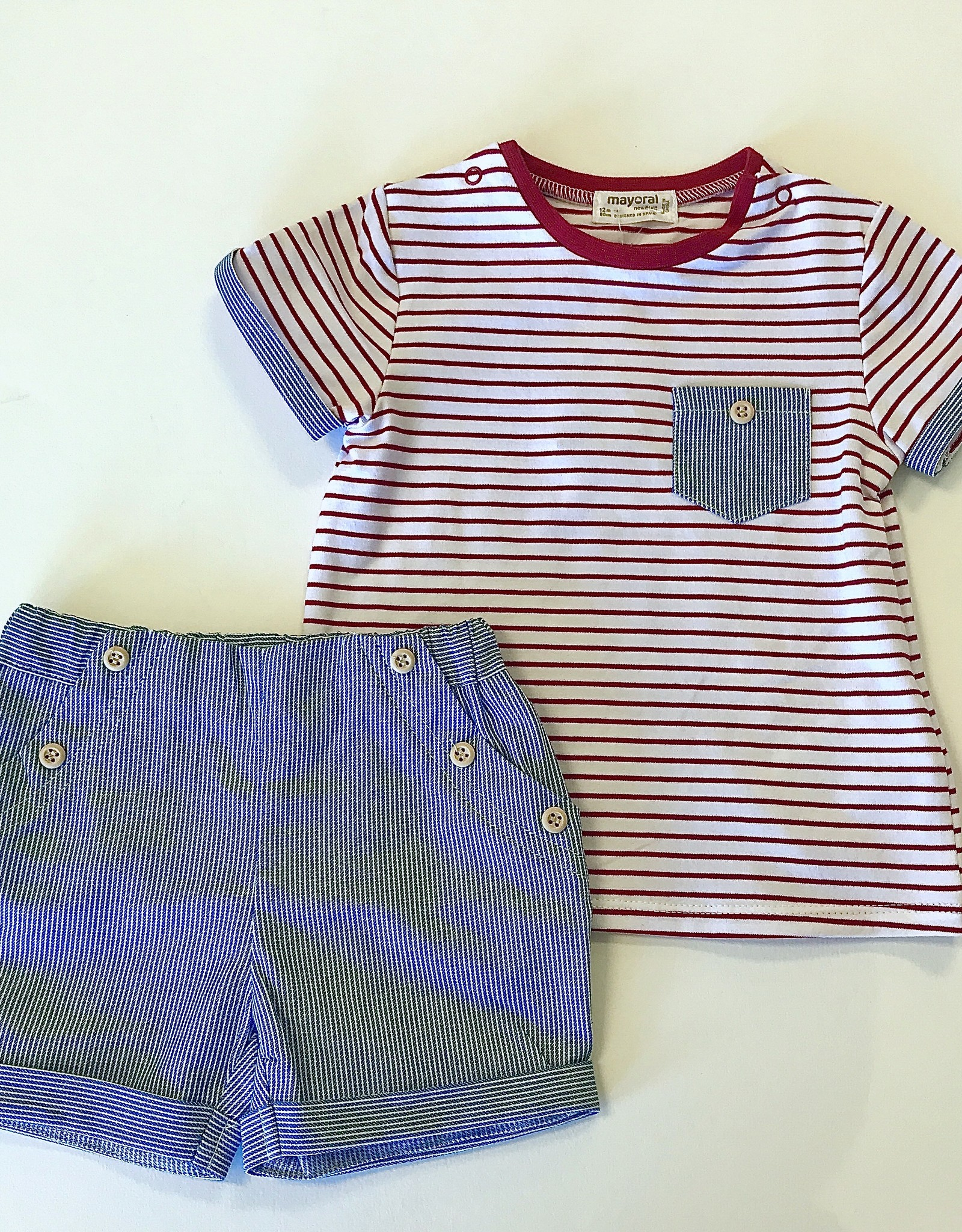 Mayoral Tee Red Stripe Blue Trim 4-6m to 18m