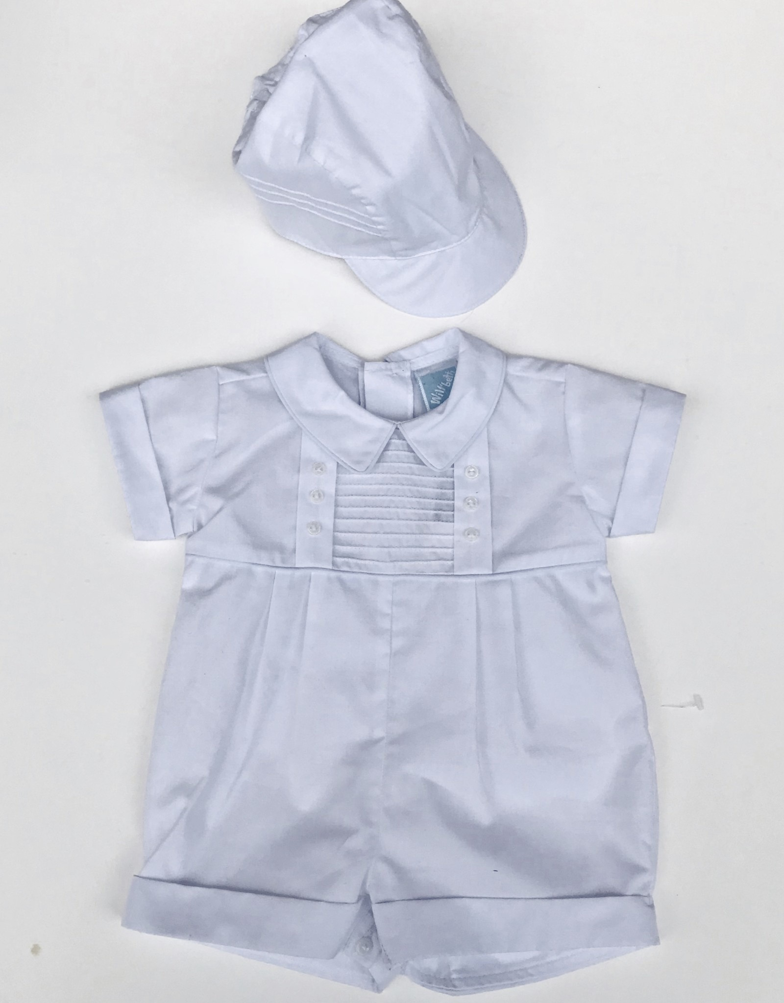 Willbeth Tuck short Romper and Hat NB-24m