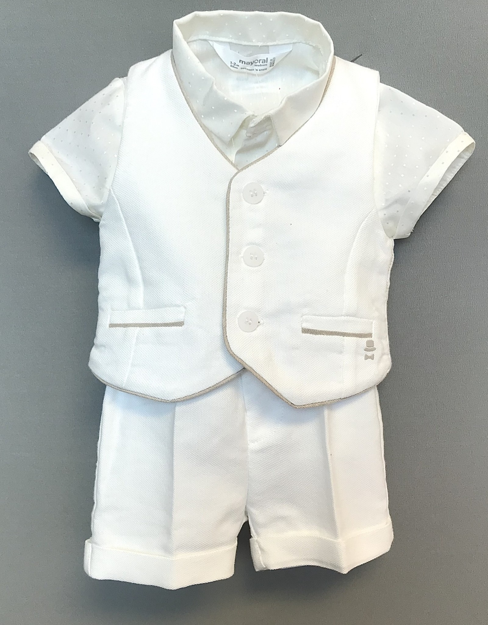 Mayoral Vest White linen stripe back Mayoral inf 1446