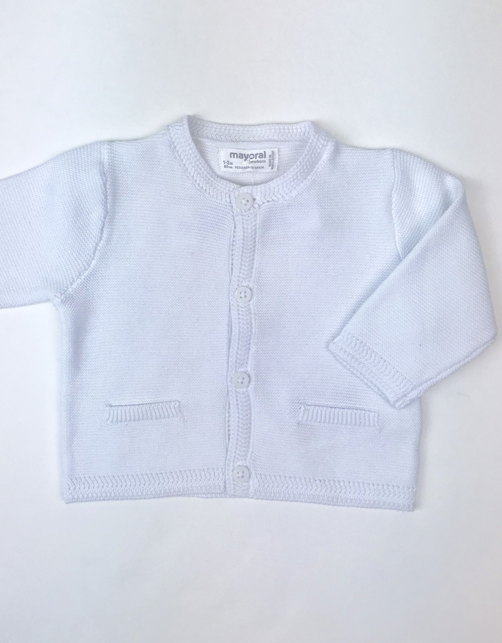 Mayoral Cardigan white herringbone rib Mayoral NB-1m