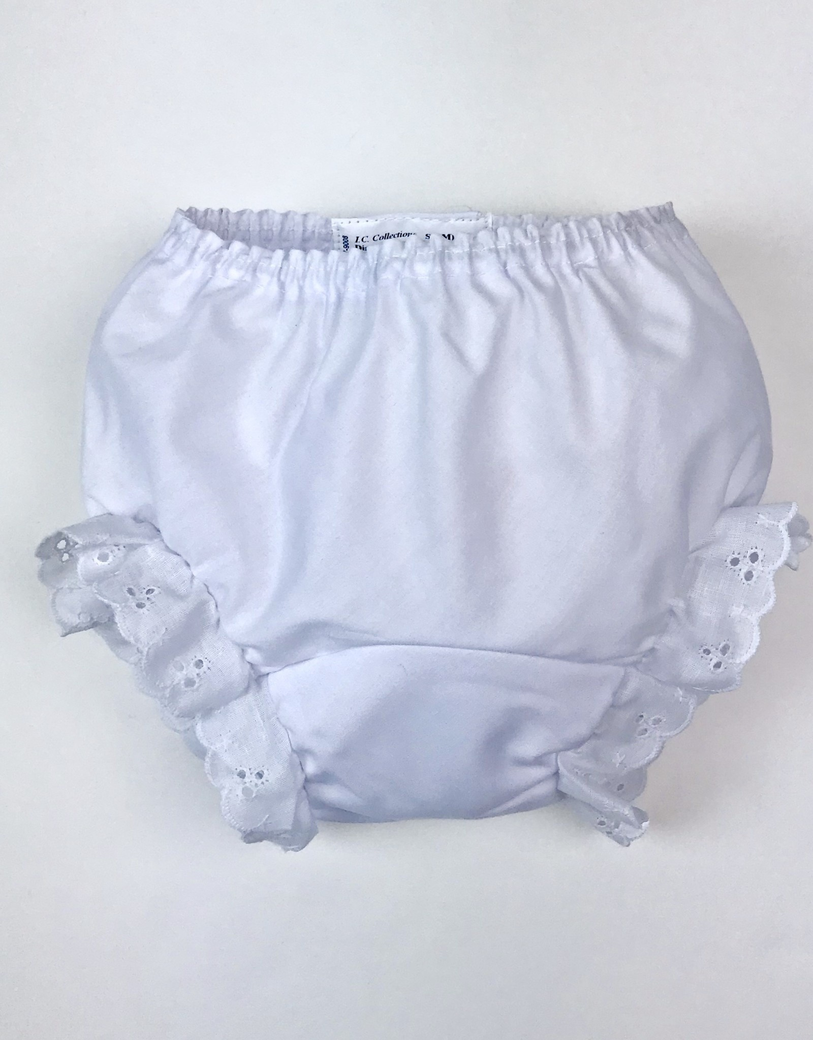 Diaper Cover-wht eyelet trim inf 162