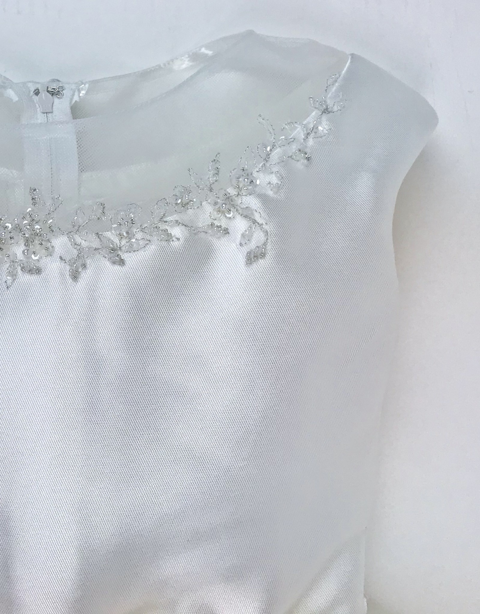 JoanCalabrese Off White Bengaline Beaded Sheer Neckline SZ 7-8