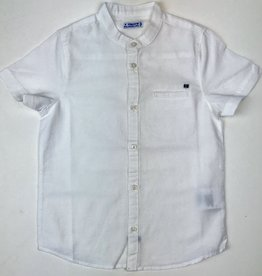 Mayoral Shirt White linen band collar sizes 2,4,6