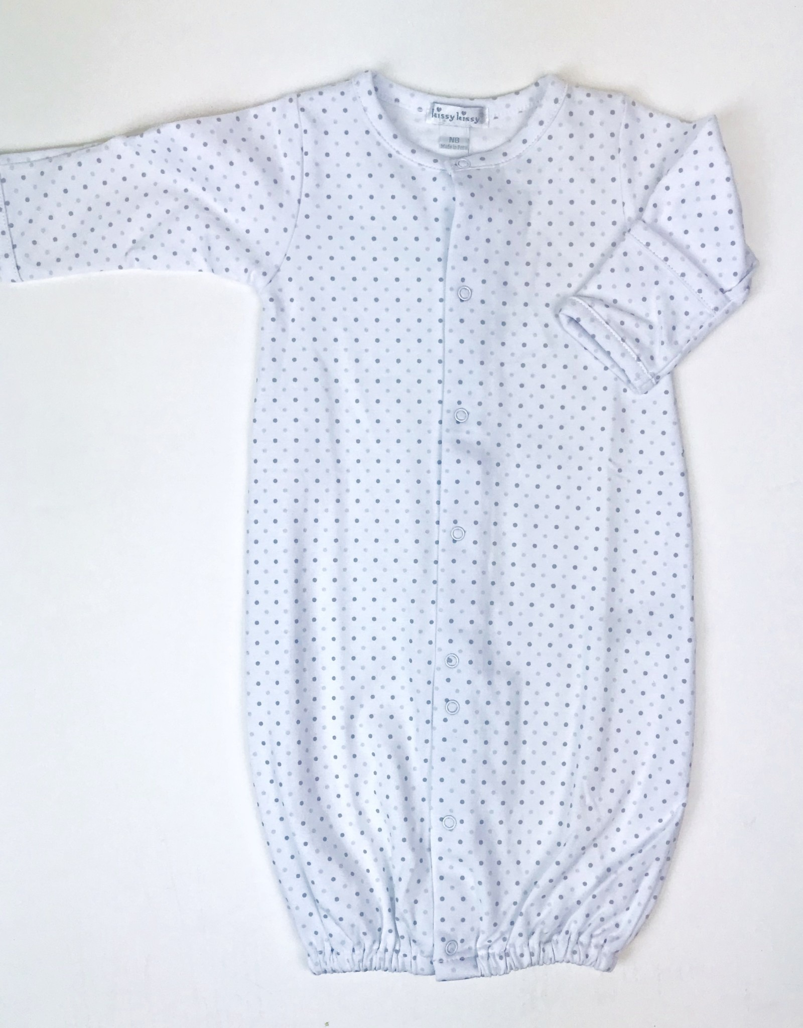 KissyKissy Gown White Dot blue or Grey NB-6m
