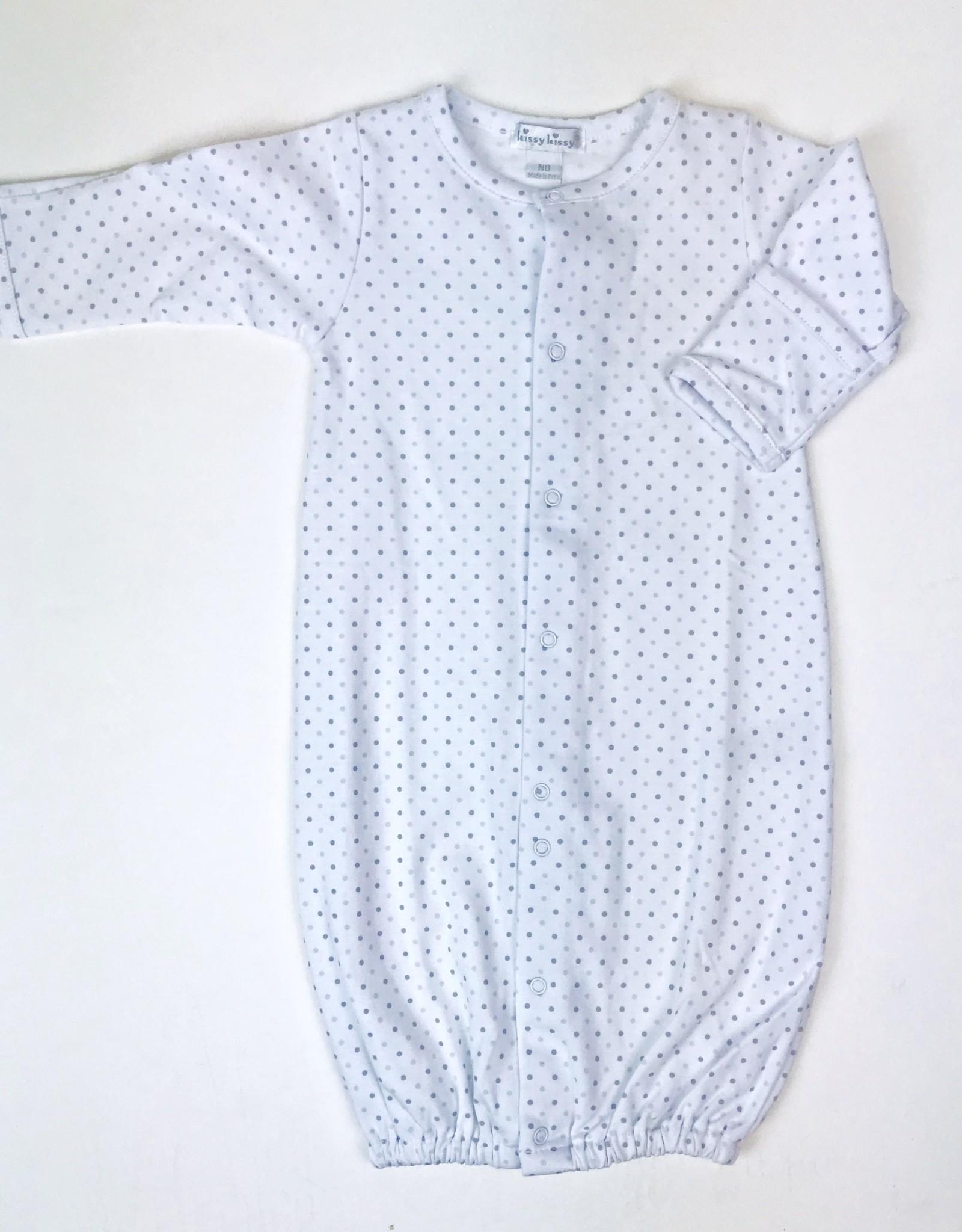 KissyKissy Gown White Dot blue or Grey NB-6m