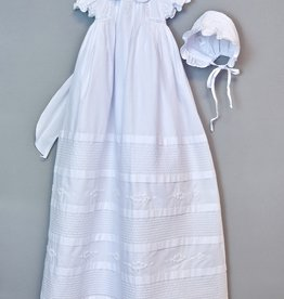 Willbeth White Pleated and Emroidered Gown