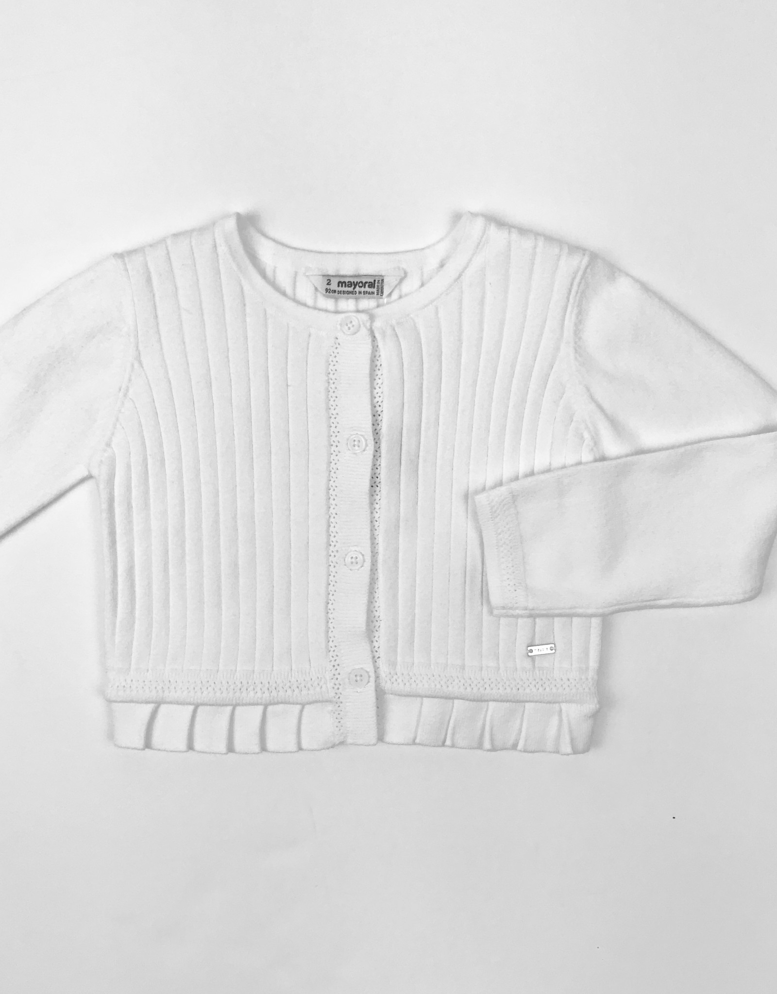 Mayoral Cardigan White Rib Pleated Peplum 2y -7y