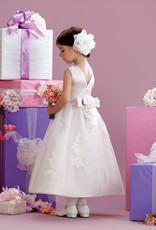 JoanCalabrese White Satin Applique Lace Dress