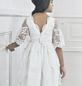 Abel & Lula Dress White lace tulle bell sleeve sz 7-10
