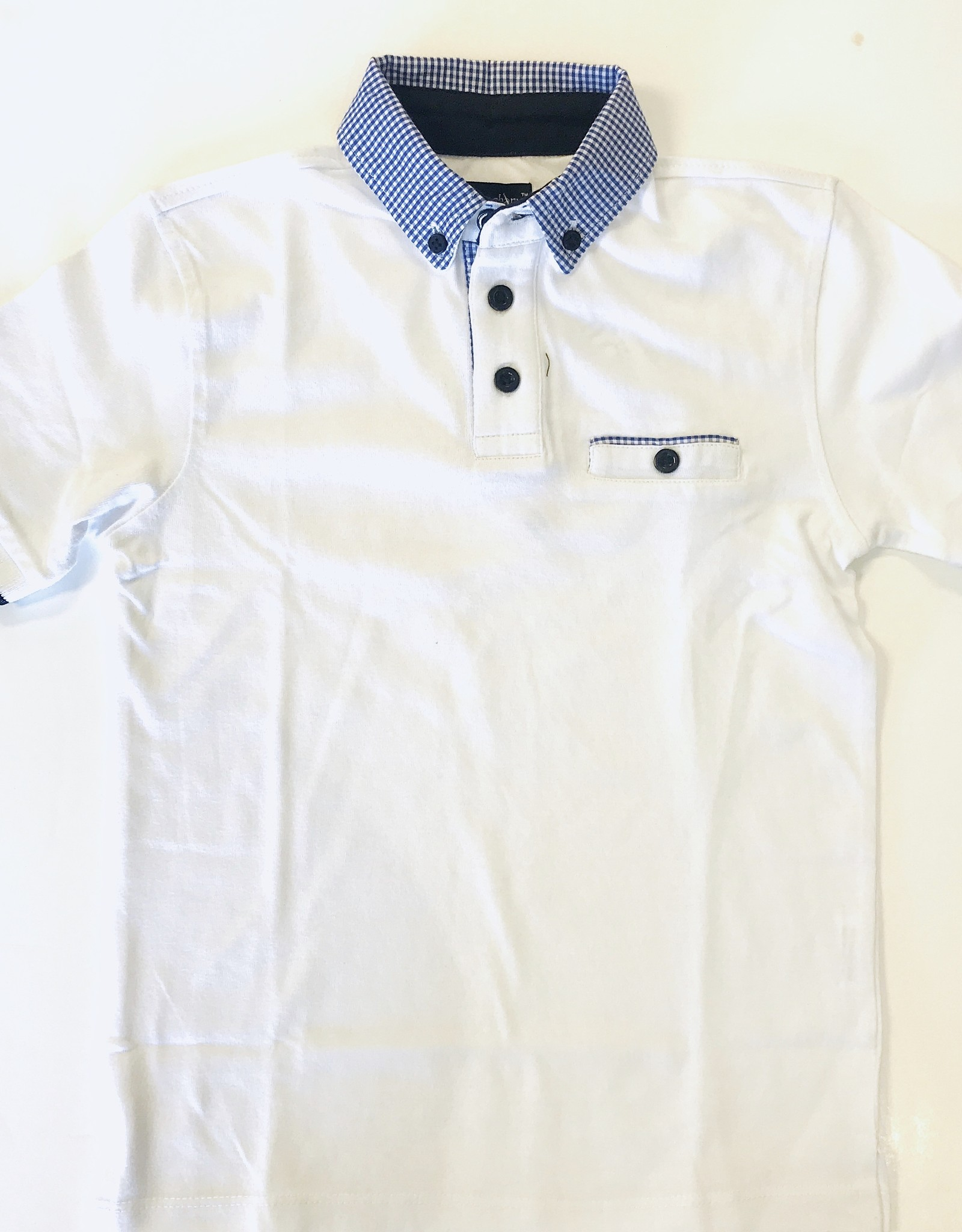 Leo and Zachary Polo White Gingham Button Down Collar 2y - 12y