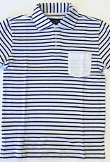 Leo and Zachary Polo white navy stripe Leo & Zachary