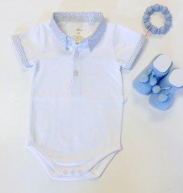 Purete White Blue Print Collar Onesie 3m-18m