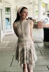 Mauve Mesh & Lace Uneven Hem Dress