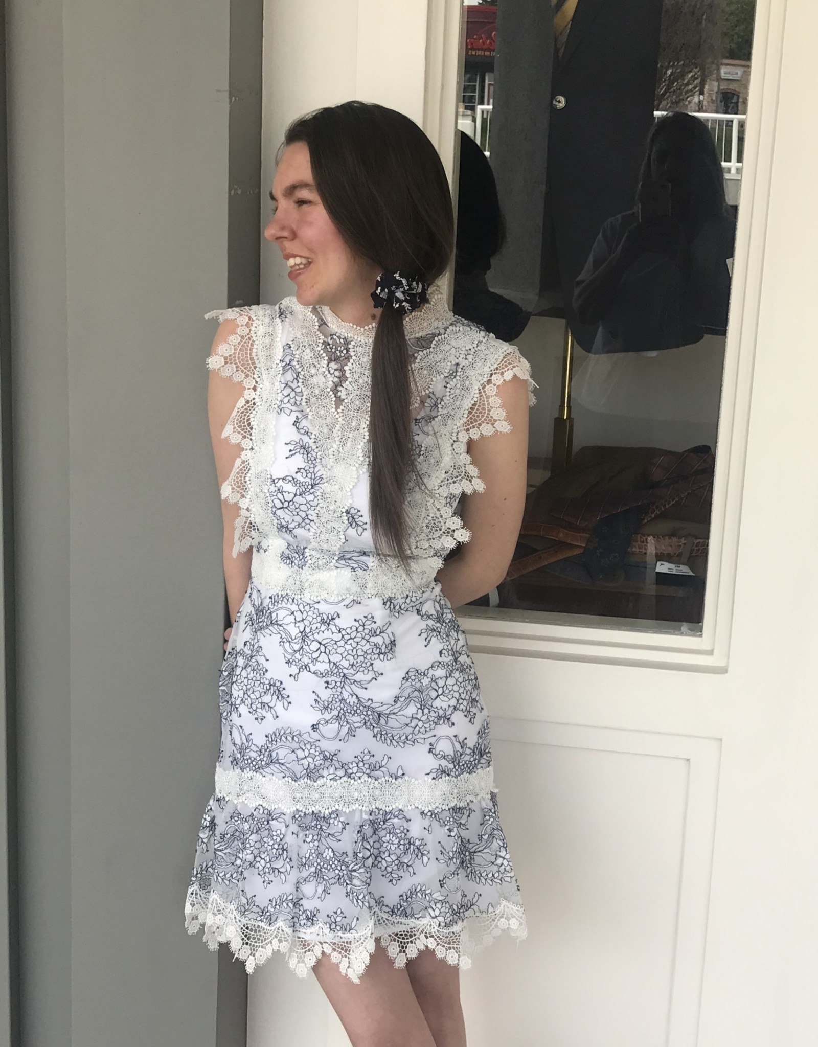 White Lace with Navy Embroidery Womens Dress