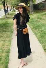 Wms Dress Black with flutters sleeve Hayden 7880
