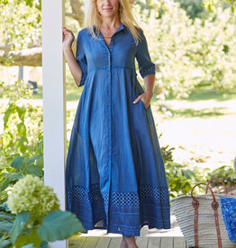 April Cornell Indigo Blue Voile  Womens Dress