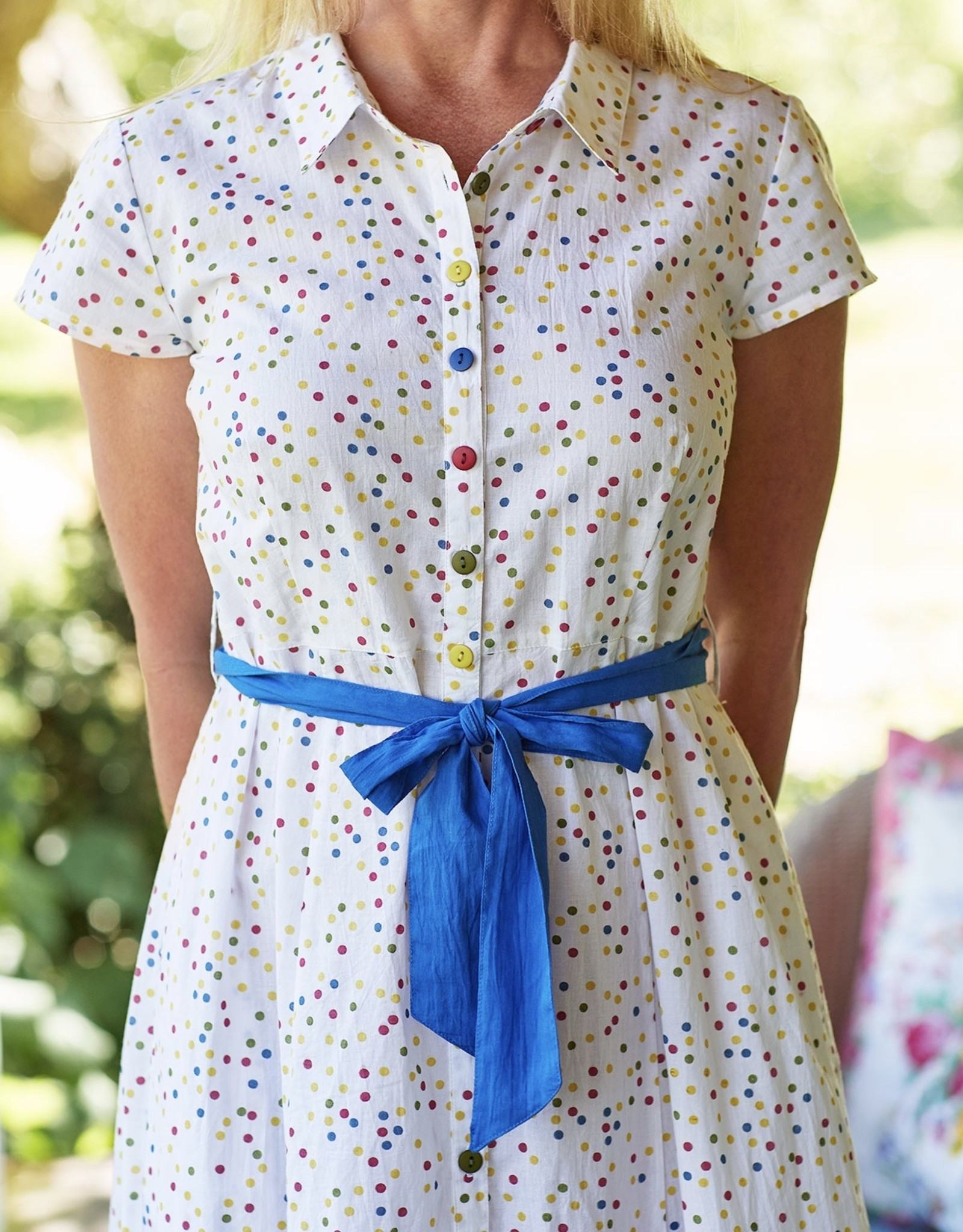 April Cornell Multi Dot Cotton Womens Dress