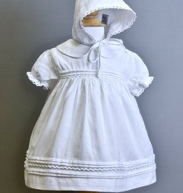 Boutique Collection Dress/Bonnet-Wht-Linen collar crochet trim-Carriage
