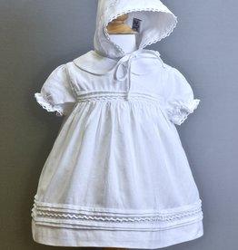 Boutique Collection Dress/Bonnet-Wht-Linen collar crochet trim-Carriage
