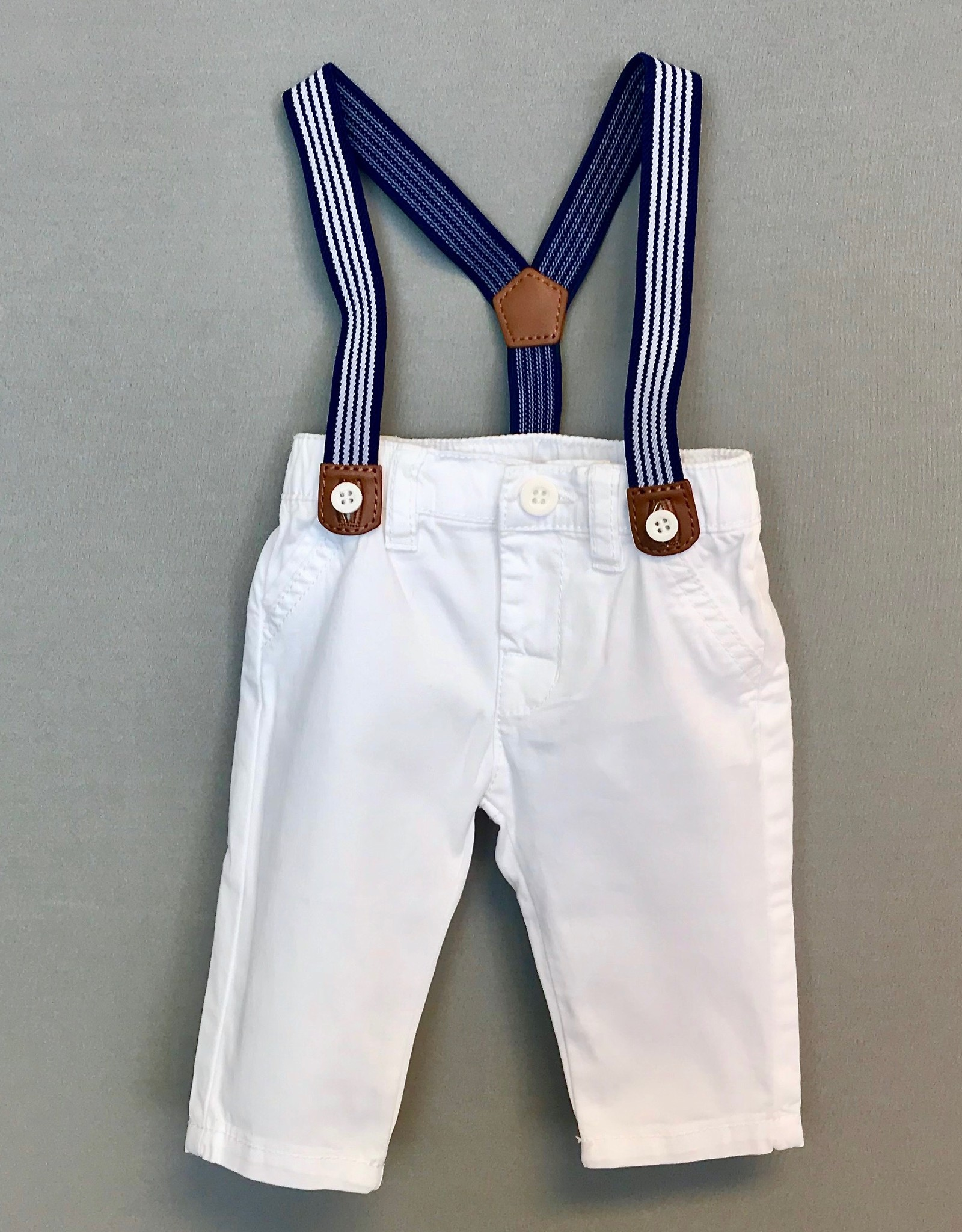 Mayoral Pant white with navy suspenders Mayoral Inf 1542