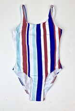 One Piece Swimsuit with Blue Red Vertical Stripes