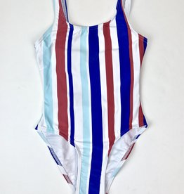 One Piece Swimsuit Blue Red Stripes