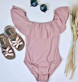 One Piece Blush Swimsuit with ruffle