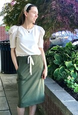 Drawstring Knit Skirt in Olive