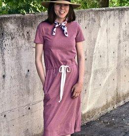 Drawstring Knit Dress in Marsala