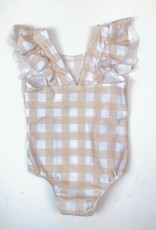 Yellow Check Swimsuit with Ruffle