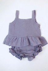 Mauve Gauze Peplum Top and Bloomer 6m-4T