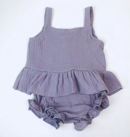 Mauve Gauze Peplum Top and Bloomer