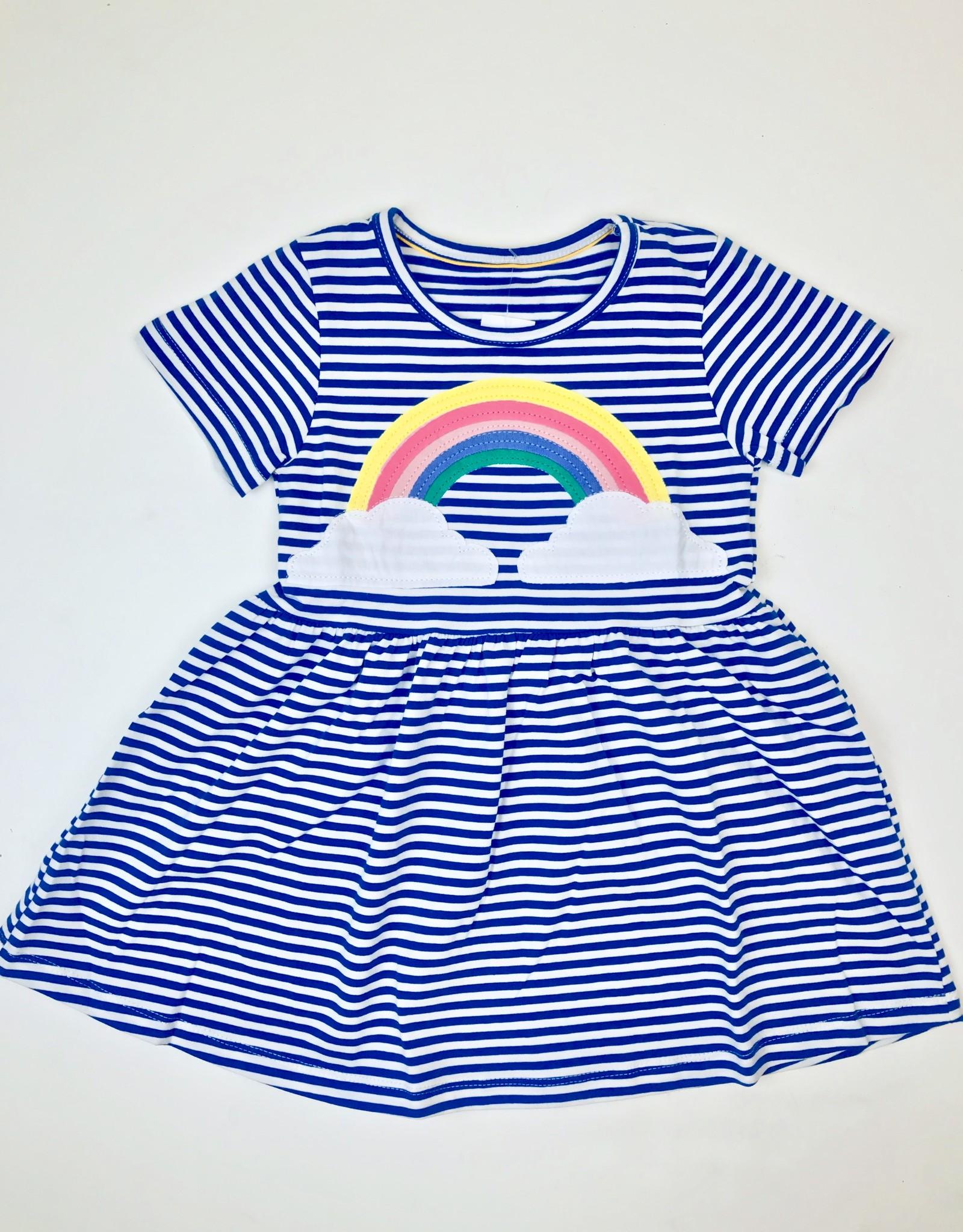 Blue stripe knit Dress with Rainbow applique 2-7