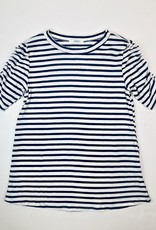 Womens Tee Navy stripe puff sleeve
