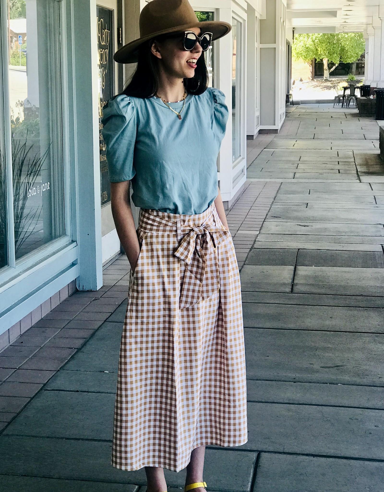 Women's gingham Skirt with Tie Belt
