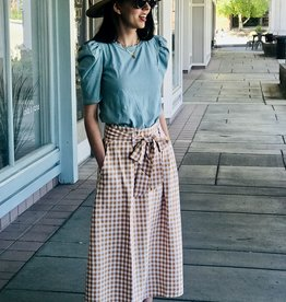 Women's gingham Midi Skirt