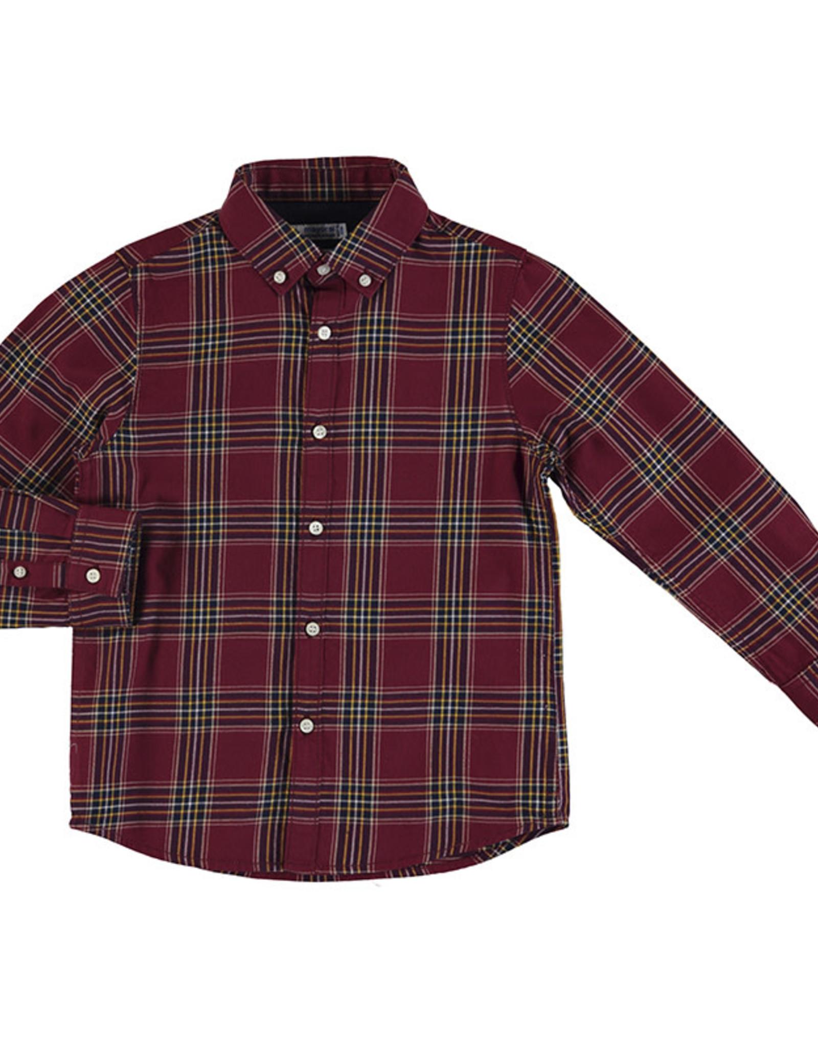 Mayoral Burgandy Tartan plaid shirt sizes 2-7