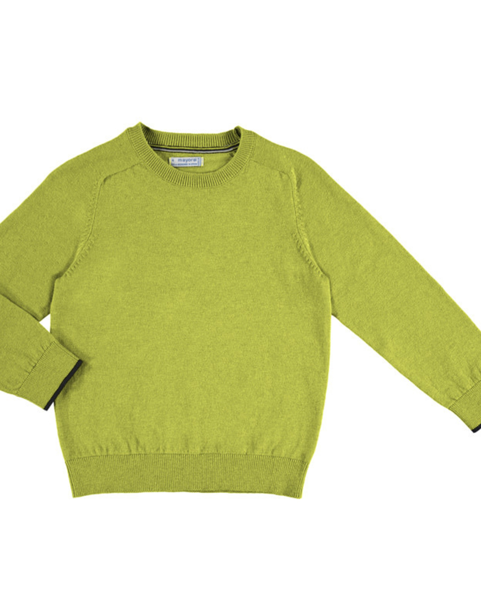 Mayoral Lime & Cheddar  Crew neck cotton sweater