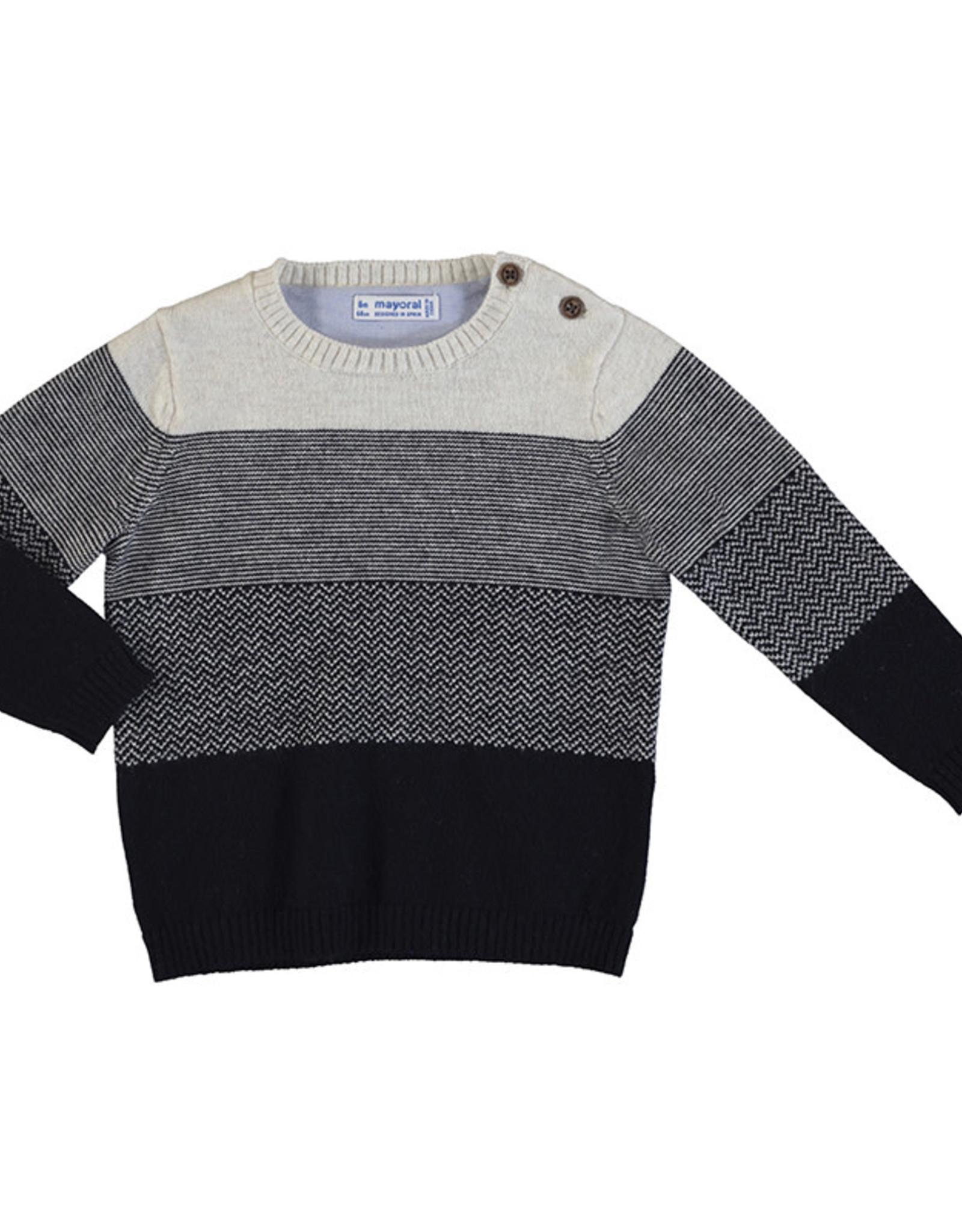 Mayoral Infant Boys Navy Cream Stripe Sweater