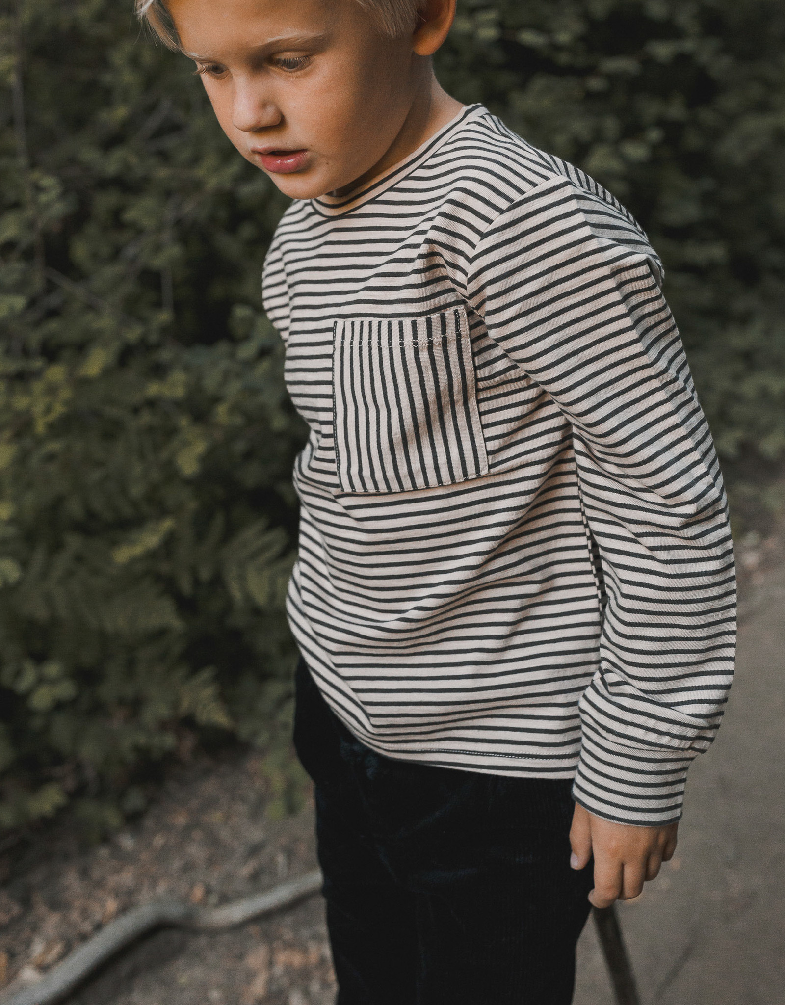 Rylee + Cru Infant Boys Oat Black Stripe button knit pant