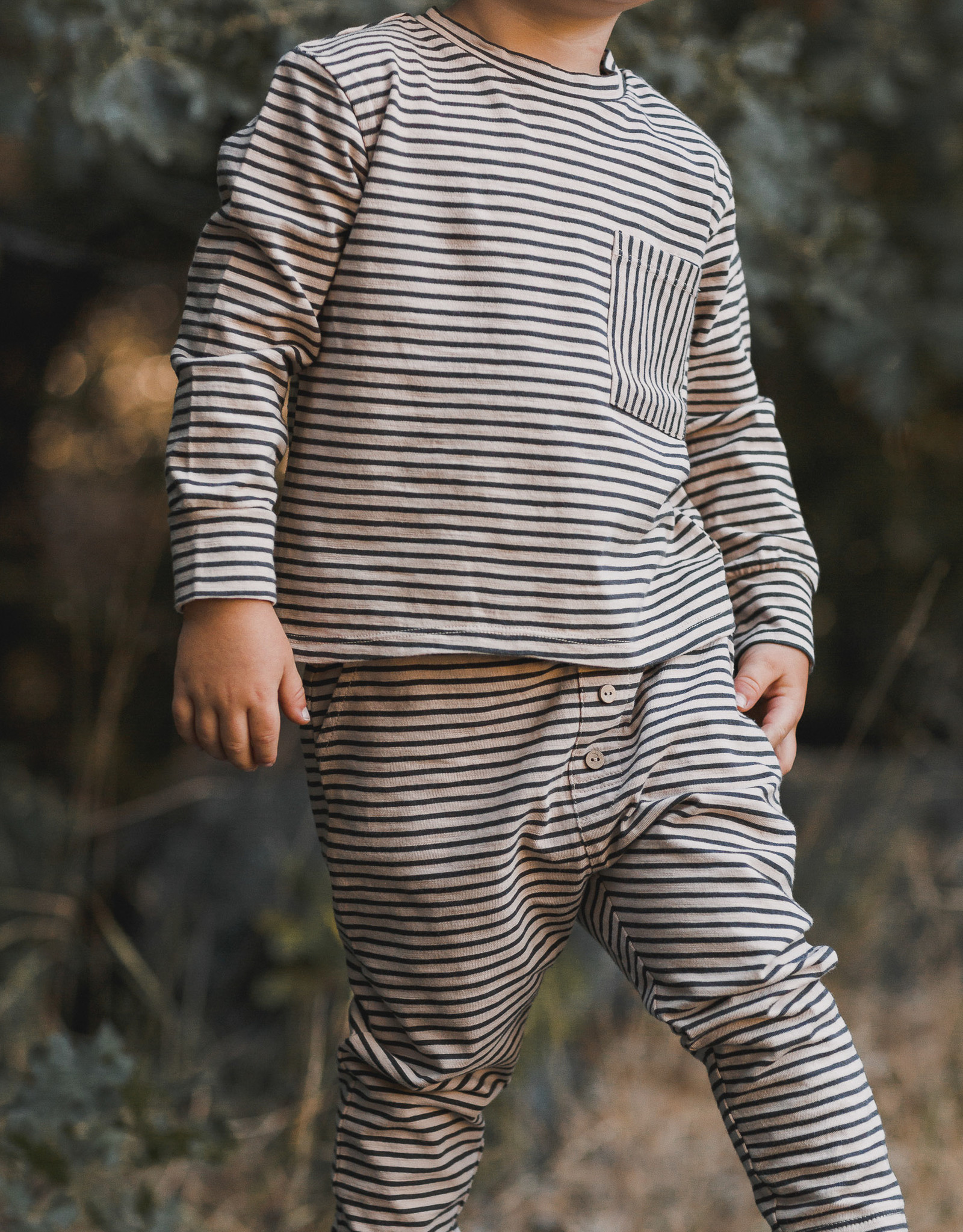 Rylee + Cru Infant Boys Oat Black Long Sleeve Pocket Tee