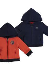 Mayoral Infant Boys Reversible Hoodie Navy Plaid Jacket