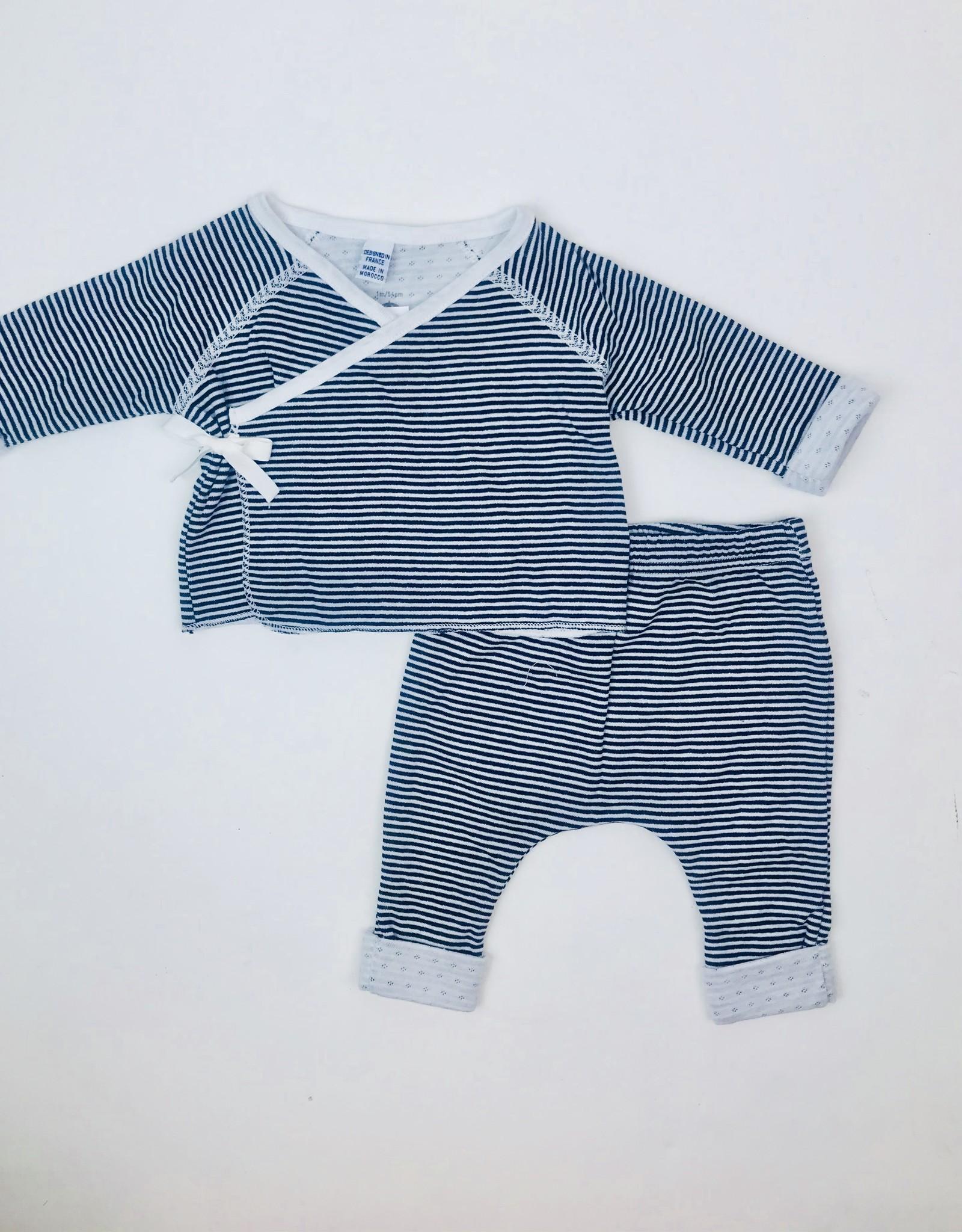 Petit Bateau Infant 2pc Wrap set Navy mini stripe
