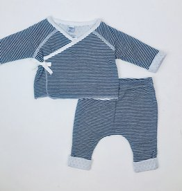 Petit Bateau Infant 2pc Wrap set Navy mini stripe